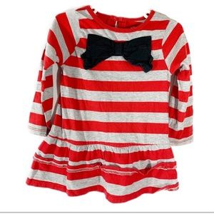 Carters Red Gray  Striped Bow Long Sleeve Top 3T